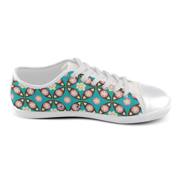 Green Flower Pattern Women's Canvas Shoes (Model 016) - kdb solution