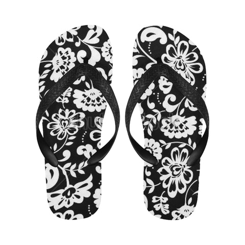 Black and White Flowers Flip Flops for Men/Women (Model 040) - kdb solution