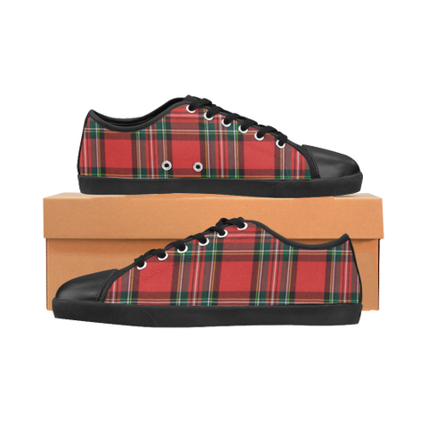 Red Plaid Women's Canvas Shoes (Model 016)