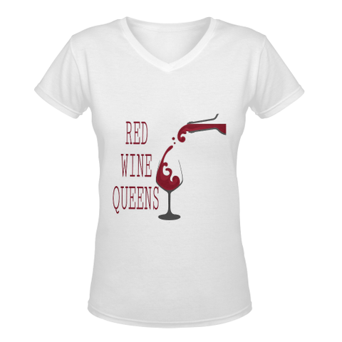 Queen D Women's Deep V-neck T-shirt (Model T19) - kdb solution