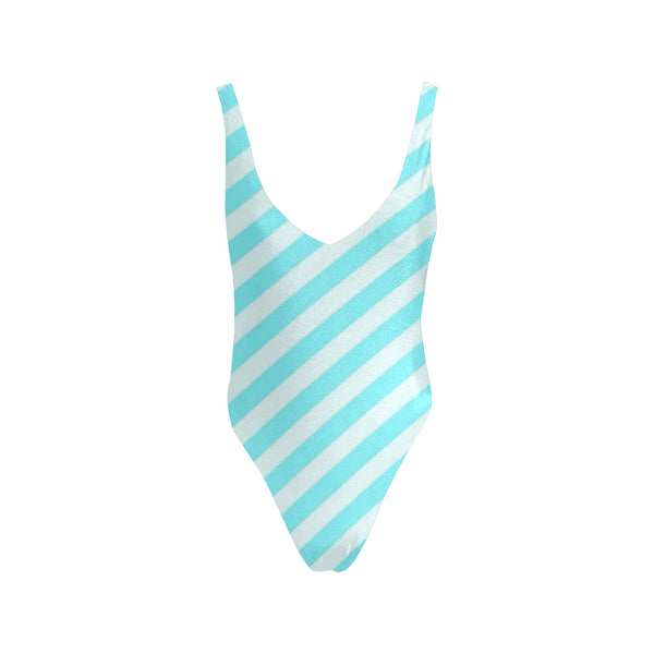 Turquoise and white diagonal Low Back One-Piece Swimsuit (Model S09)