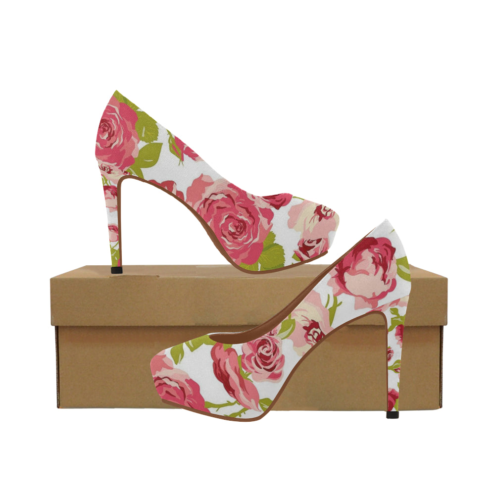 Dominique Pink Flowers Womens High Heels Model 044 Kdb Solution
