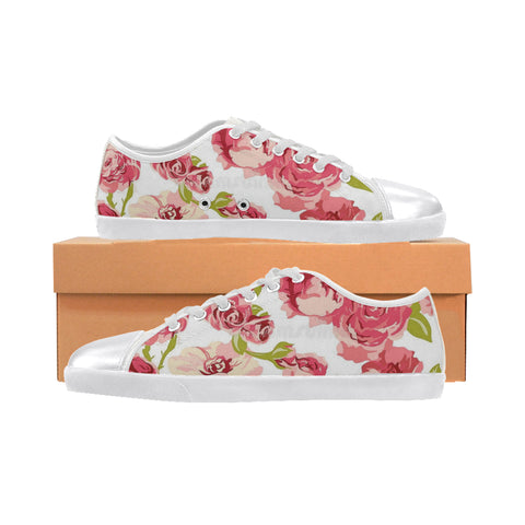 Pink flowers Women's Canvas Shoes (Model 016)