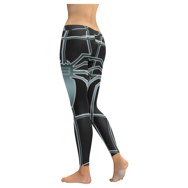 Black and Grey Spider Web Low Rise Leggings available in XXS-XXXXXL - kdb solution