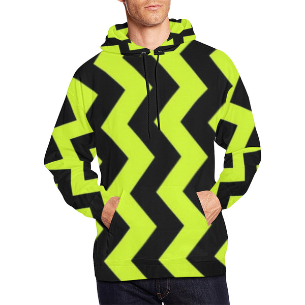 Black and Yellow All Over Print Hoodie for Men (USA Size) (Model H13) - kdb solution
