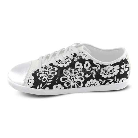 Black and White Flowers Women's Canvas Shoes (Model 016) - kdb solution