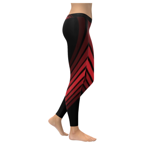 Red and Black Design 2 Low Rise Leggings (Invisible Stitch) (Model L05) - kdb solution