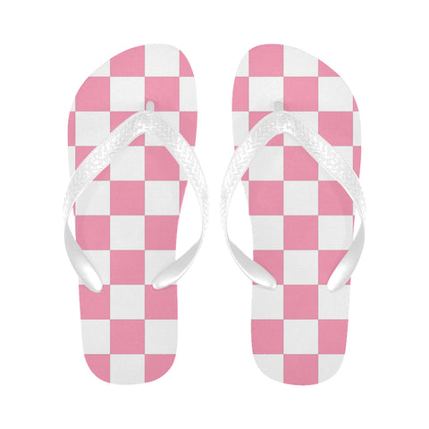 Pink and White Checkered Flip Flops for Men/Women (Model 040)