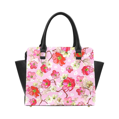 Pink and White Flowers Classic Shoulder Handbag (Model 1653) - kdb solution