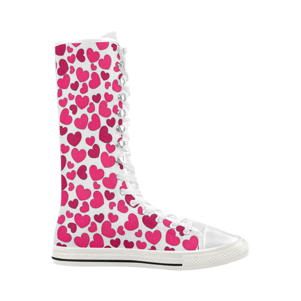 Little Hearts Canvas Long Boots For Women Model 7013H - kdb solution