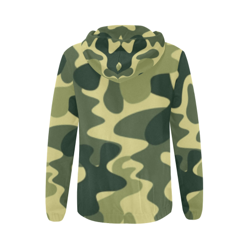 KDB Army Print All Over Print Full Zip Hoodie for Women (Model H14) - kdb solution