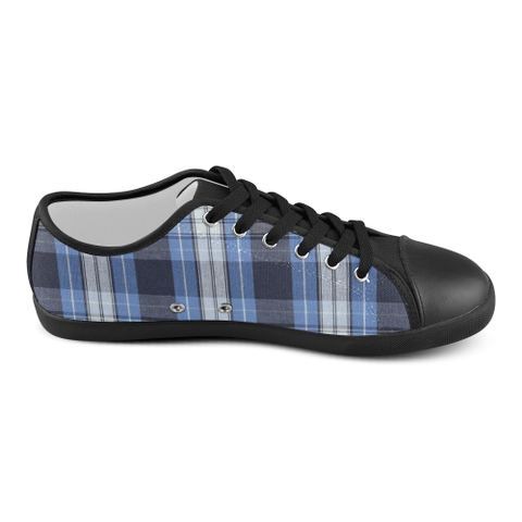 Blue Plaid Women's Canvas Shoes (Model 016) - kdb solution