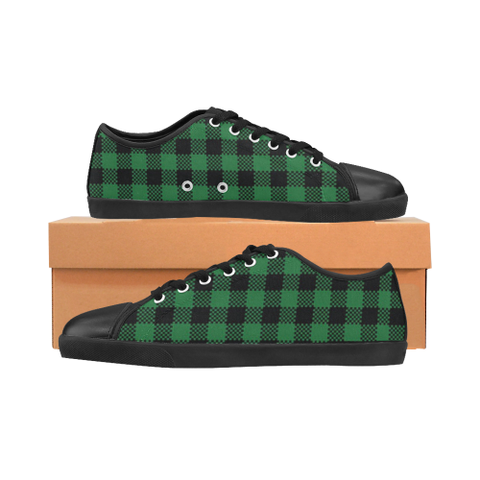 Green Plaid Women's Canvas Shoes (Model 016) - kdb solution