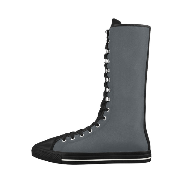 Dark grey Canvas Long Boots For Women Model 7013H - kdb solution