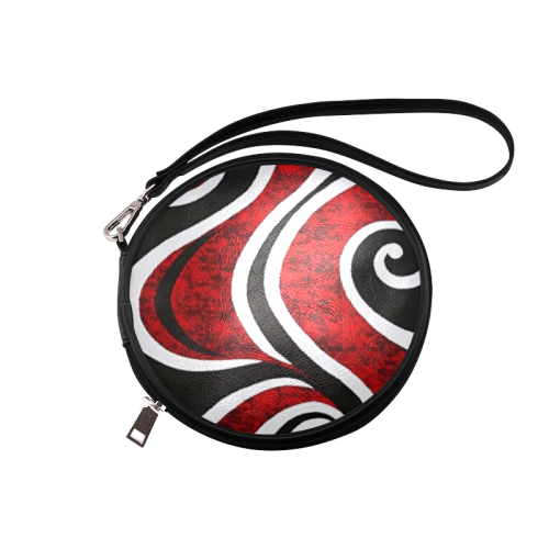 Red White and Black Round Makeup Bag (Model 1625) - kdb solution