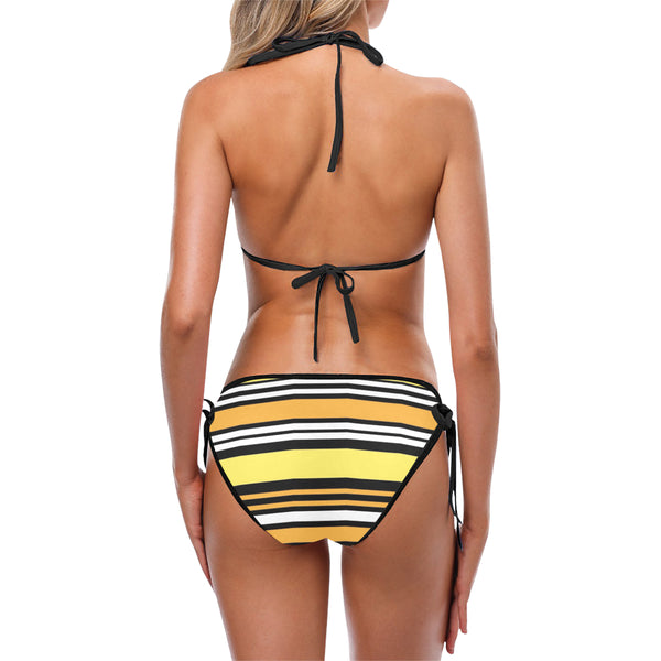 Black yellow white Custom Bikini Swimsuit (Model S01)