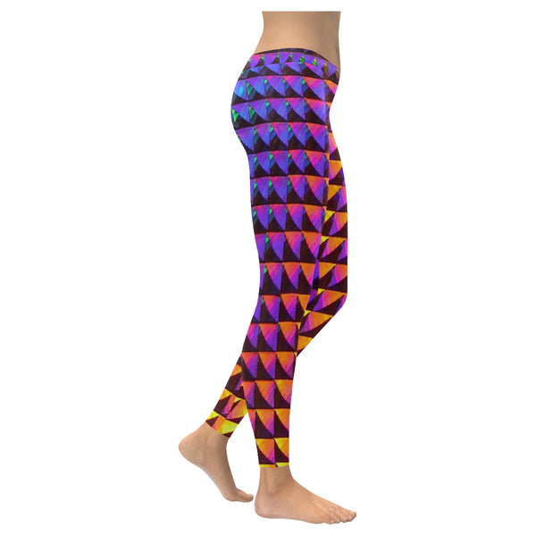 Purple Yellow Tones Low Rise Leggings (Invisible Stitch) (Model L05) - kdb solution