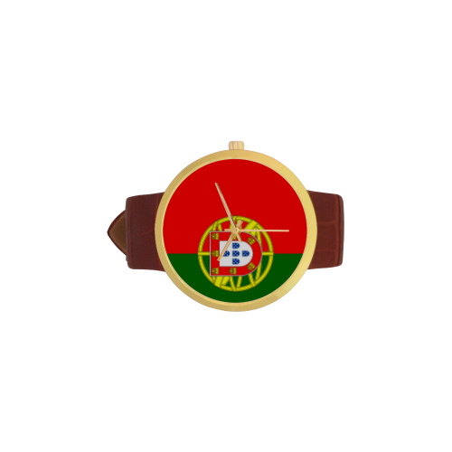 Portugal Women's Golden Leather Strap Watch(Model 212) - kdb solution