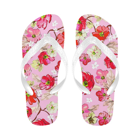 Pink and White Flowers Flip Flops for Men/Women (Model 040) - kdb solution