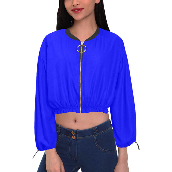 Royal Blue Cropped Chiffon Jacket  (Model H30) - kdb solution
