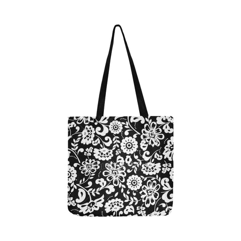Black and White flowers Reusable Shopping Bag Model 1660 (Two sides) - kdb solution