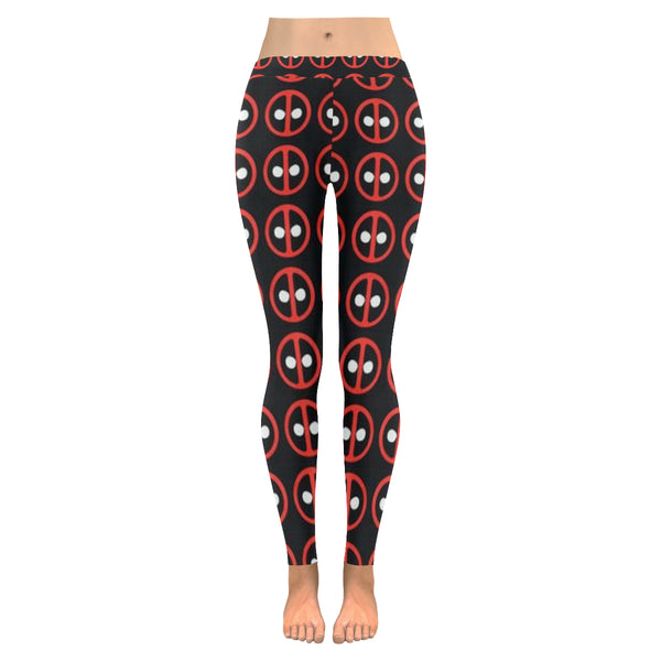 Deadpool Pattern  Low Rise Leggings (Invisible Stitch) (Model L05) - kdb solution
