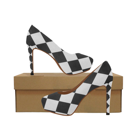 White and Black Diamonds Women's High Heels (Model 044) - kdb solution