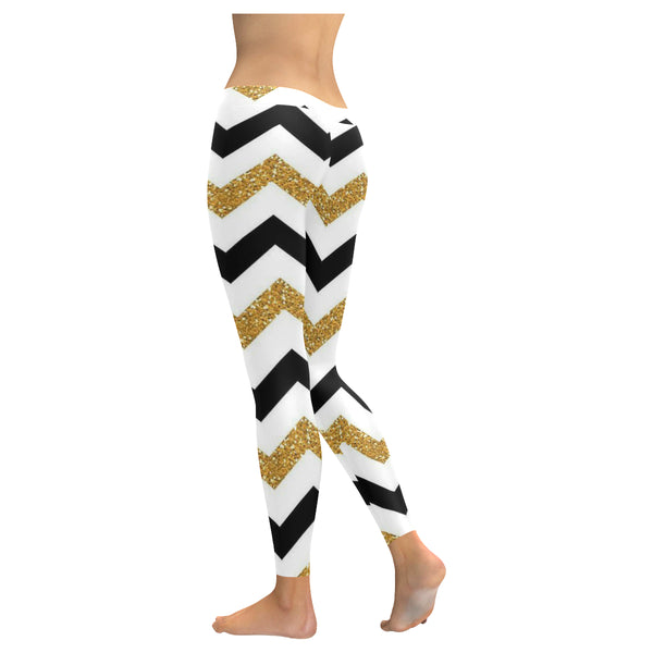 Gold Black and White Low Rise Leggings (Invisible Stitch) XXS-XXXXXL - kdb solution
