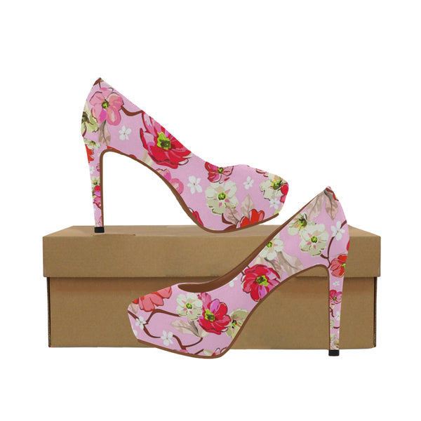 Dominique Collection Pink and White Flowers Women's High Heels (Model 044) - kdb solution