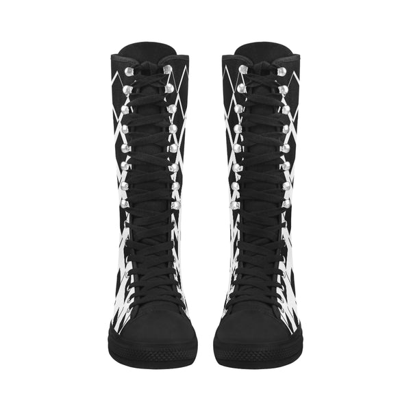 Black and White  Box Canvas Long Boots For Women Model 7013H - kdb solution