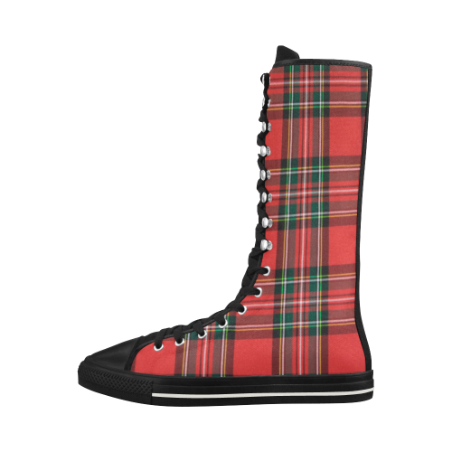 Red Plaid Canvas Long Boots For Women Model 7013H - kdb solution