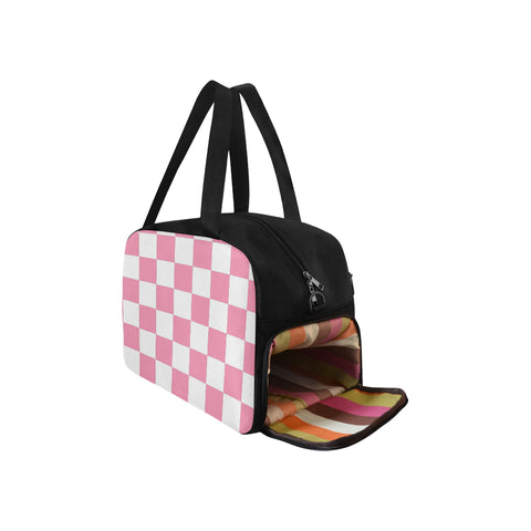 Pink and White Checkered Fitness/Overnight bag(Model 1671)