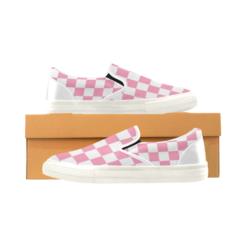 Pink and White Checkered Women's Slip-on Canvas Shoes (Model 019) - kdb solution