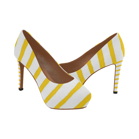 mustard and yellow Women's High Heels (Model 044)