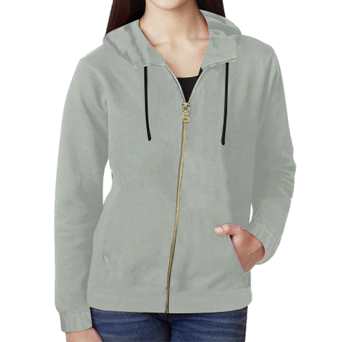 KDB Light Grey All Over Print Full Zip Hoodie for Women (Model H14)