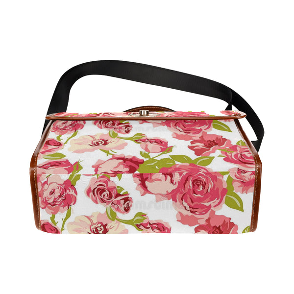 Pink Flowers Waterproof Canvas Bag/All Over Print (Model 1641) - kdb solution