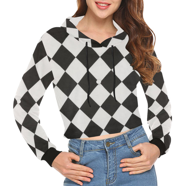 White and Black Diamonds All Over Print Crop Hoodie for Women (Model H22) - kdb solution