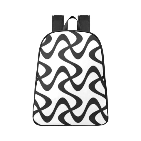 Black  and White design Fabric School Backpack (Model 1682) (Large) - kdb solution