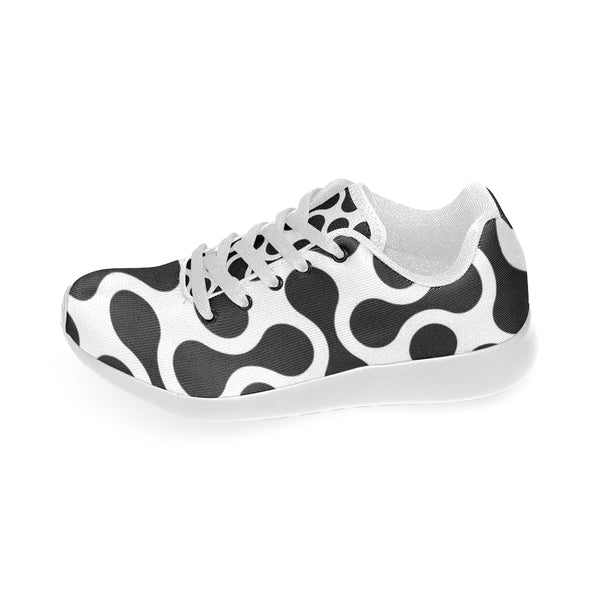 Black and White Swirl Women's Running Shoes (Model 020) - kdb solution