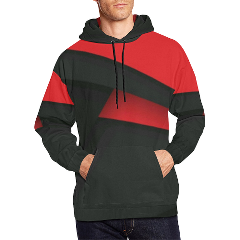 Black and Red All Over Print Hoodie for Men (USA Size) (Model H13) - kdb solution
