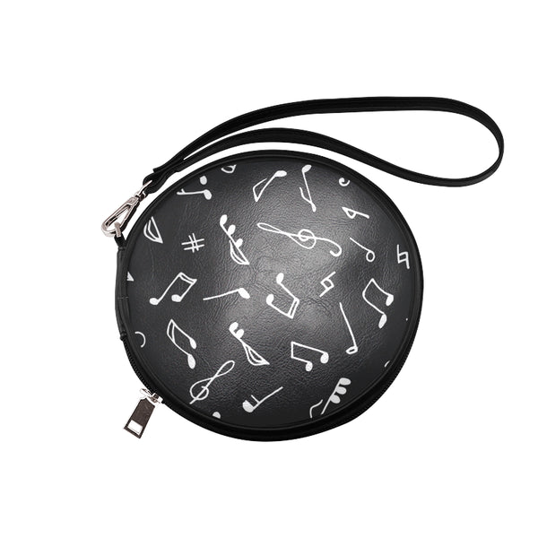 Musical Note Black Round Makeup Bag (Model 1625) - kdb solution