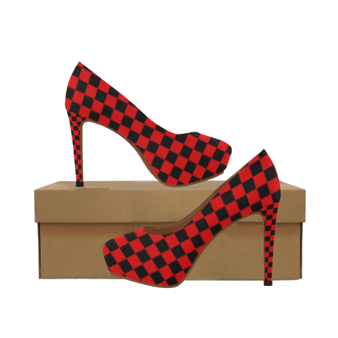 Red and Black Checkered Women's High Heels (Model 044) - kdb solution