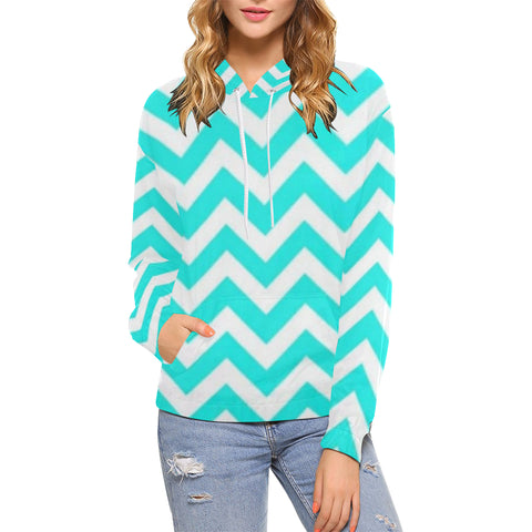 Blue and White All Over Print Hoodie for Women (USA Size) (Model H13) - kdb solution