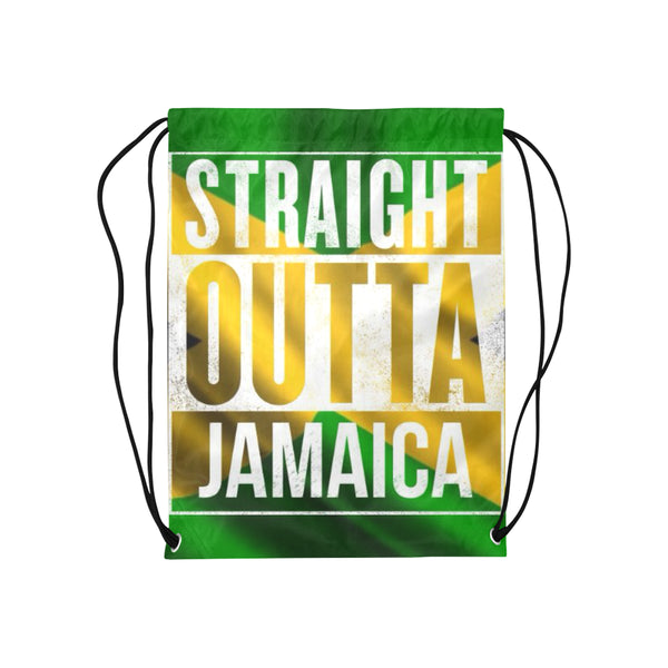 "Straight outta jamaica Drawstring Bag Model 1604 (Twin Sides) 13.8""(W) * 18.1""(H) - kdb solution"