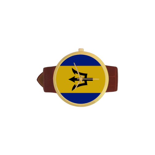 Barbados-big-flag Women's Golden Leather Strap Watch(Model 212) - kdb solution
