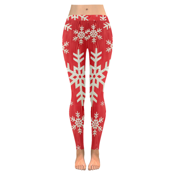 Snowflakes Low Rise Leggings (Invisible Stitch) (Model L05) XXS-XXXXXXL - kdb solution