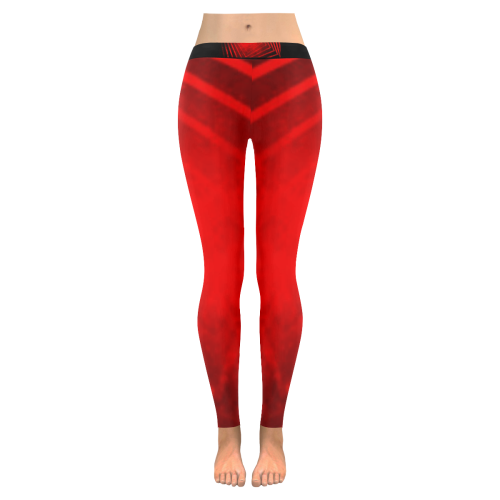 Red and Black Low Rise Leggings (Invisible Stitch) (Model L05) - kdb solution