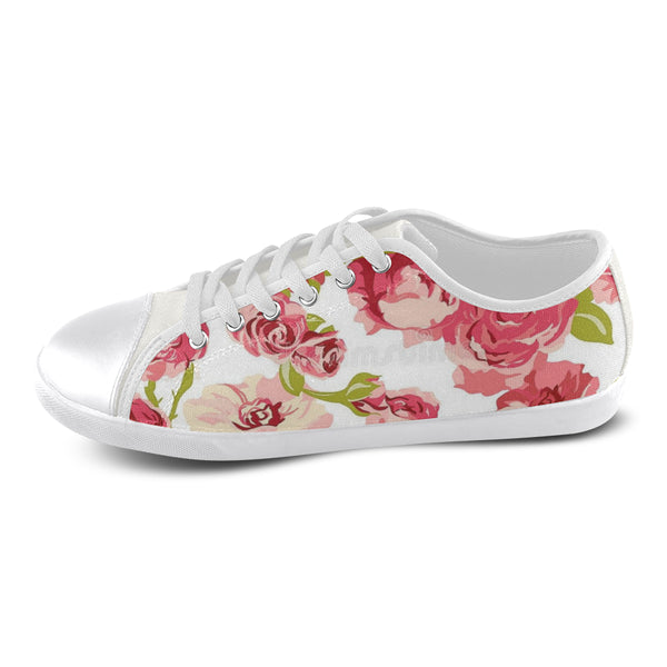 Pink flowers Women's Canvas Shoes (Model 016) - kdb solution