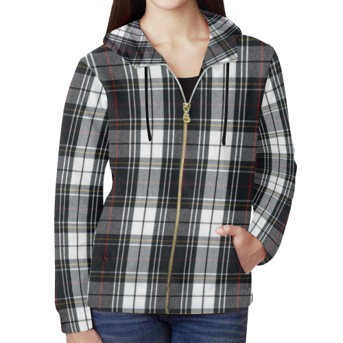 KDB Black and White Plaid with touch of red All Over Print Full Zip Hoodie for Women (Model H14)