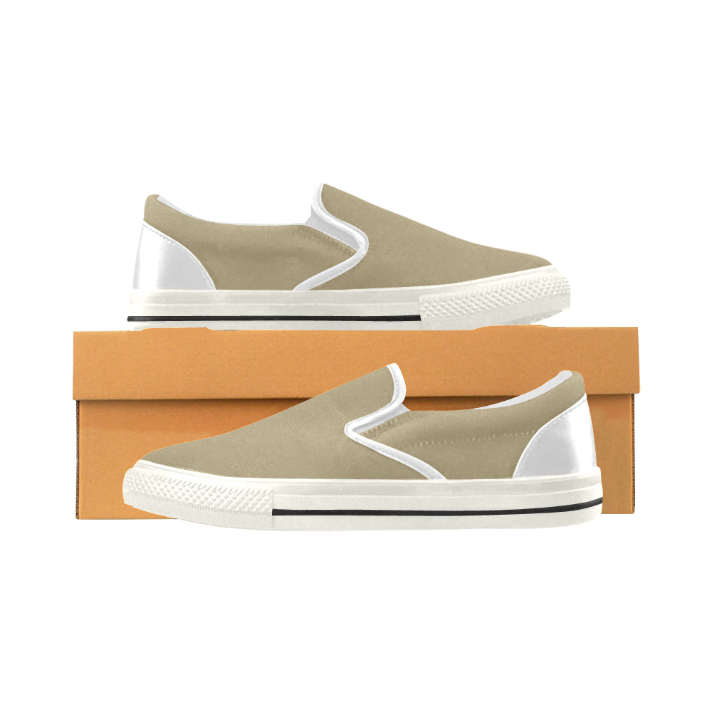 Khaki Colour Men's Slip-on Canvas Shoes (Model 019) - kdb solution